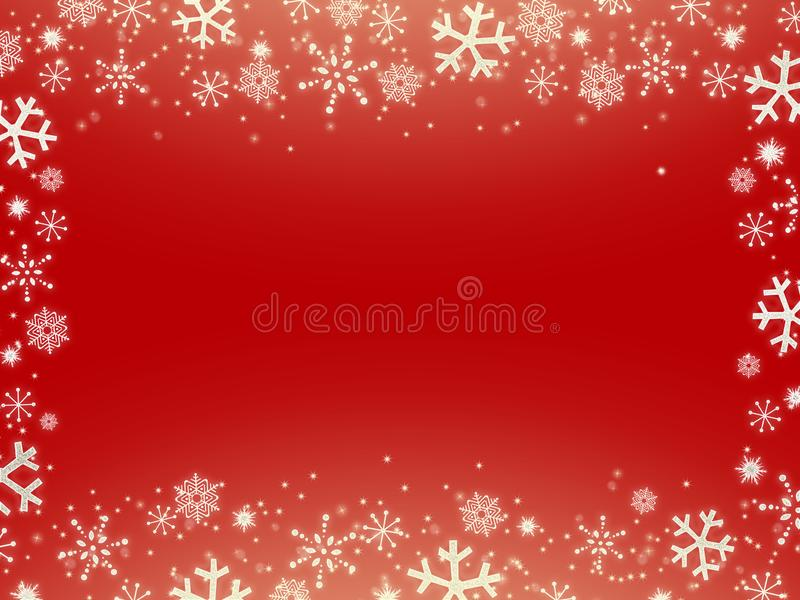 Christmas red background with snowflakes royalty free illustration