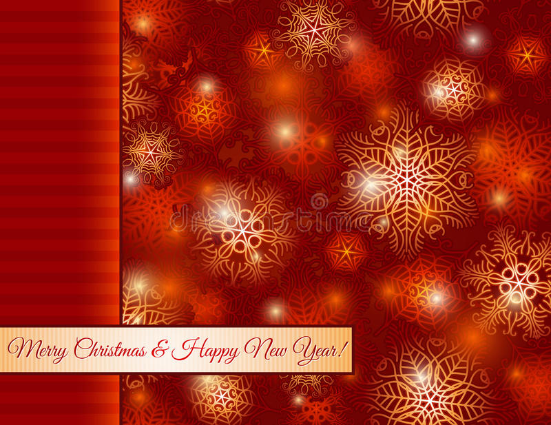 Christmas red background with snowflakes, vector royalty free illustration