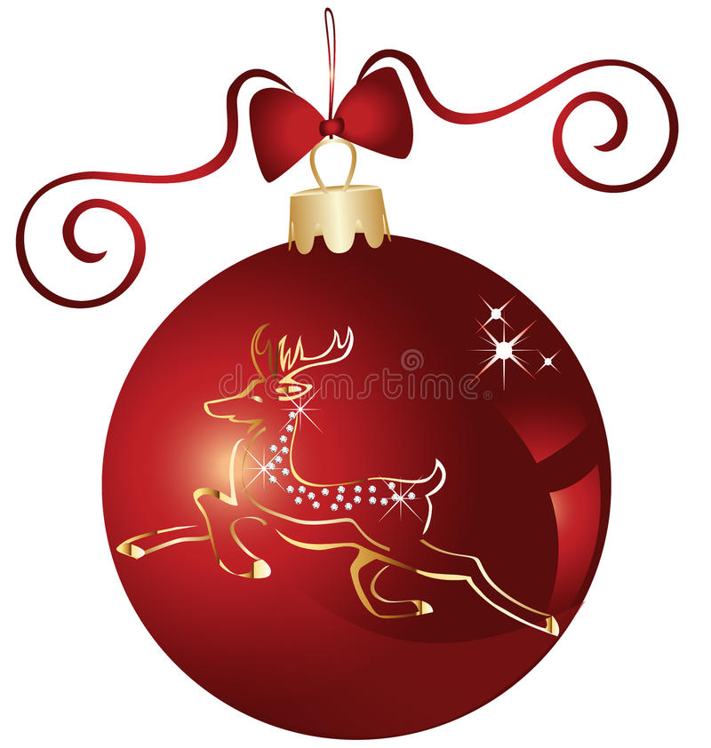 Christmas red ball vector illustration