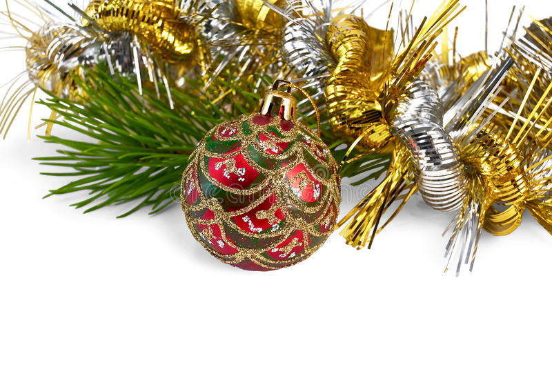 Download Christmas Red Ball With Pine Branch Stock Image - Image of ornament, background: 22259881