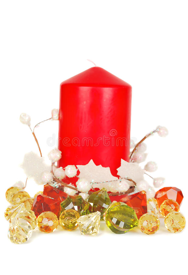 Download Christmas Red Candle And Crystals. Stock Photo - Image of magic, isolated: 11413212