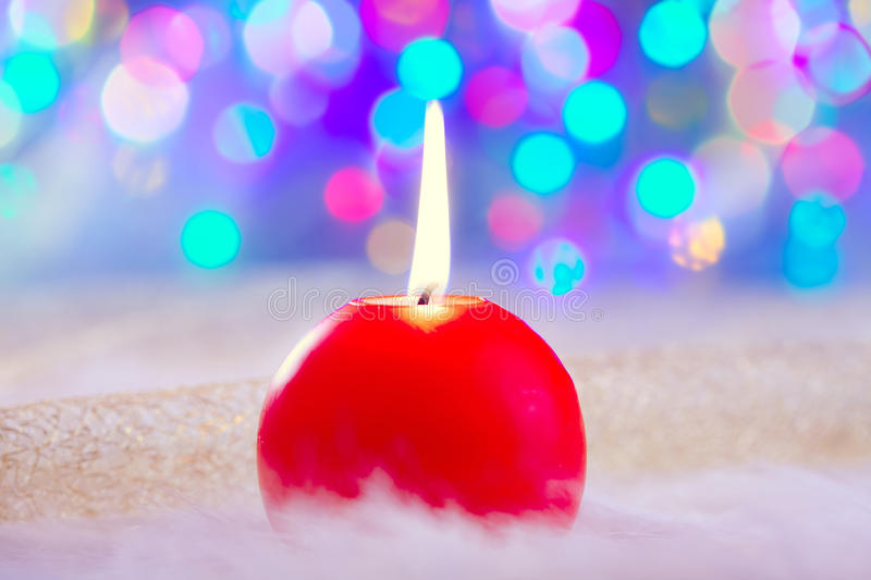Download Christmas Red Candle On Fur And Colorful Light Stock Illustration - Image: 21613354