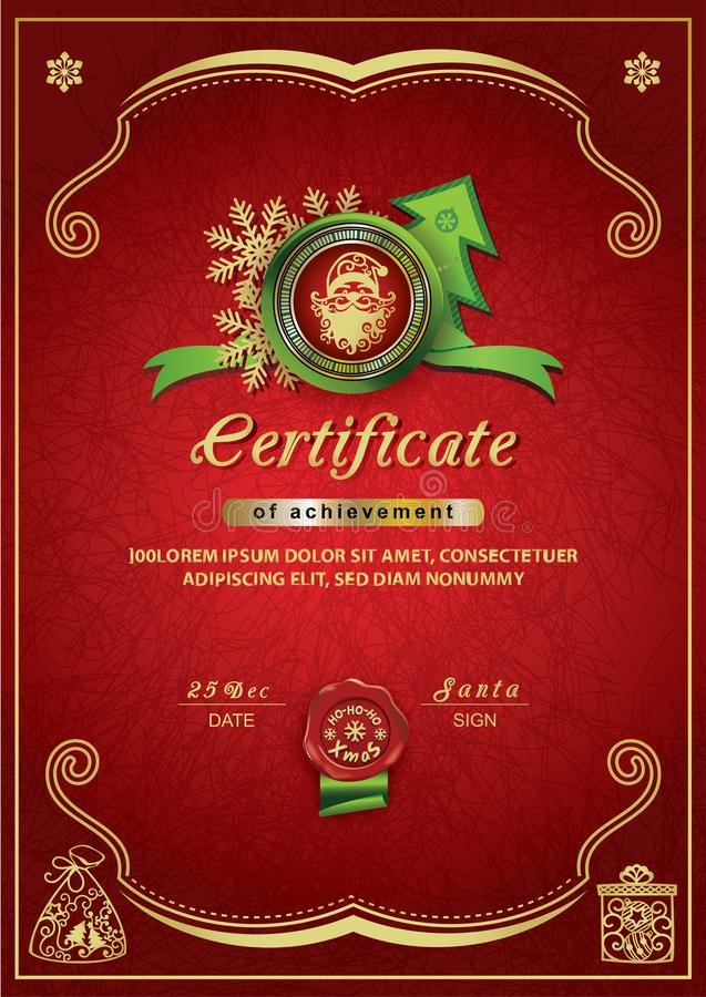 Christmas red certificate. Santa inside emblem, Xmas background stock image