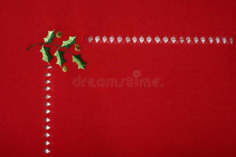 Download Christmas Red Cloth Embroidered With Holly Macro Royalty Free Stock Photography - Image: 21560357
