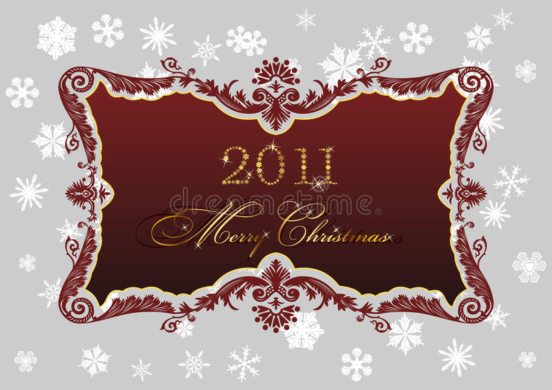 Christmas red frame 2011 snowflakes decor vector illustration