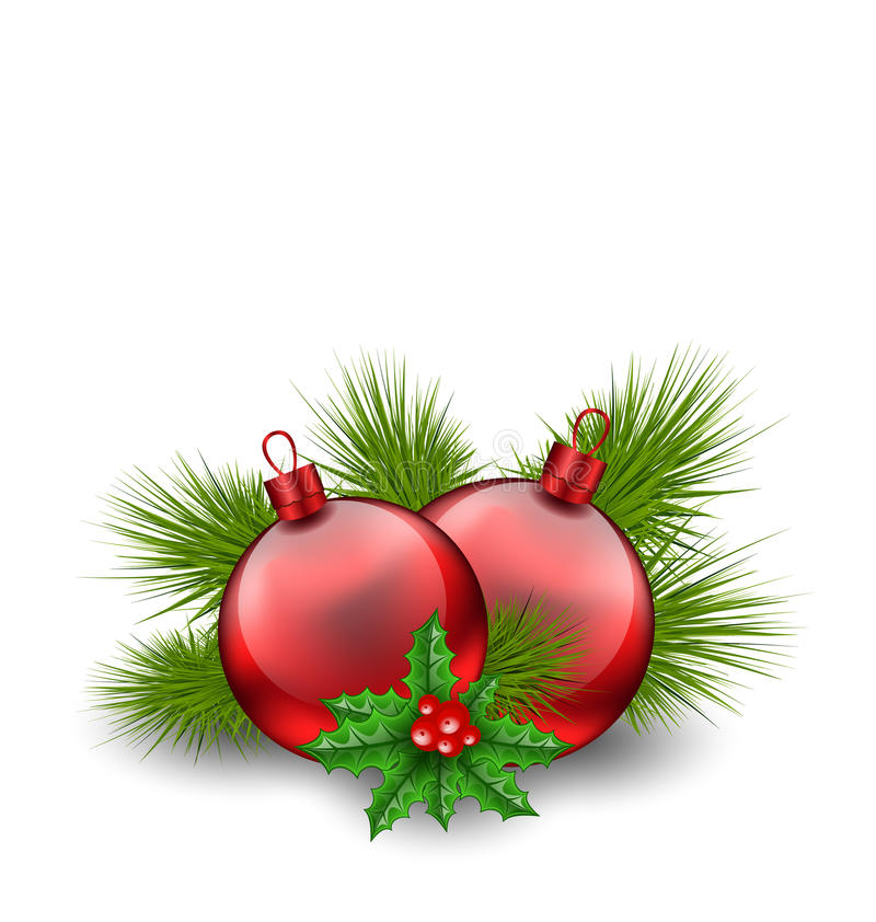 Christmas red glass balls with fir twigs and holly berry, on white background vector illustration
