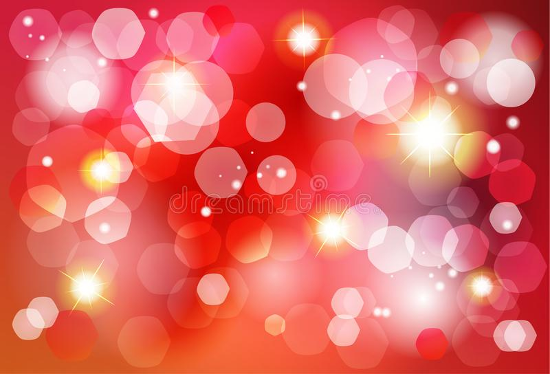 Christmas red and gold bokeh lights effect invitation vector illustration