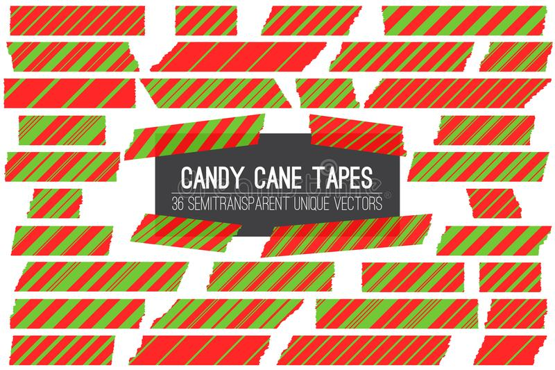 Christmas Red Green Candy Cane Washi Tape Isolated Vector Strips. royalty free illustration