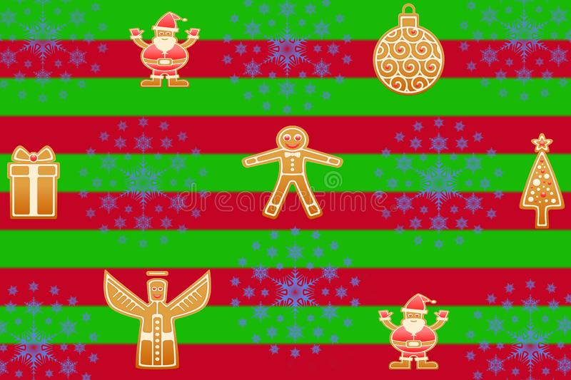 Christmas red and green striped background with gingerbread cookies in different shapes and snowflake stars great for santa claus stock illustration