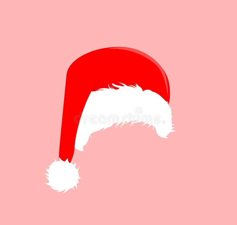 Christmas red hats icon. Santa Claus costume vector illustration. New Year photography portreit element. vector illustration