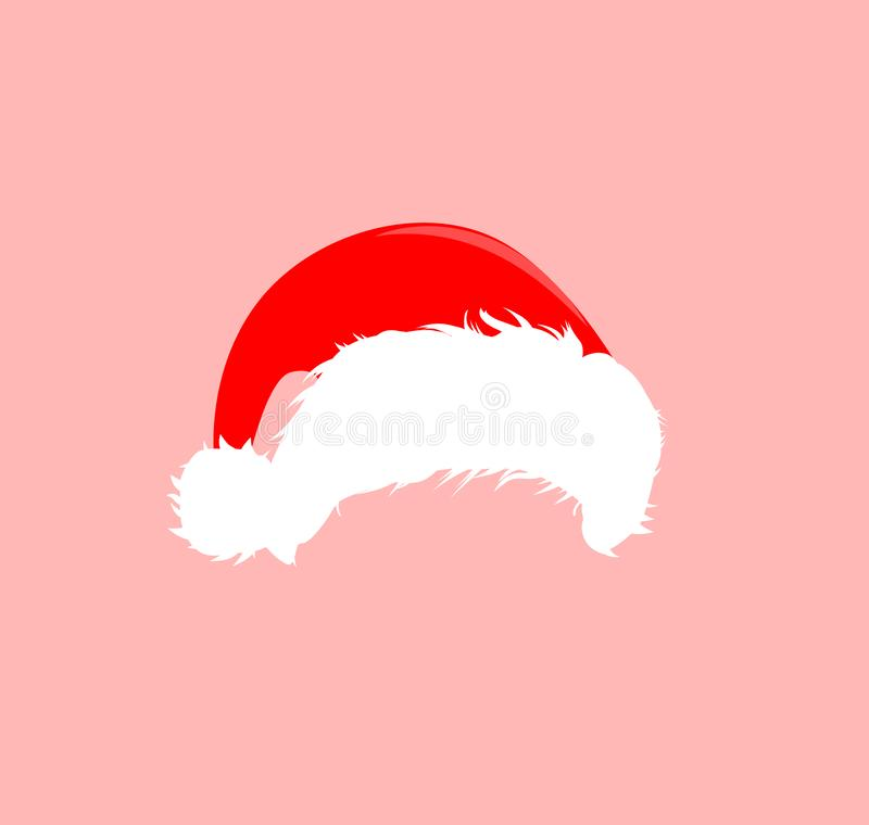 Christmas red hats icon. Santa Claus costume vector illustration. New Year photography portreit element. stock illustration