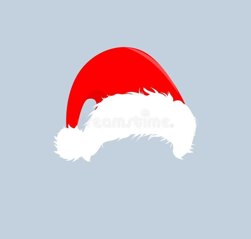 Christmas red hats icon. Santa Claus costume vector illustration. New Year photography portreit element. royalty free illustration