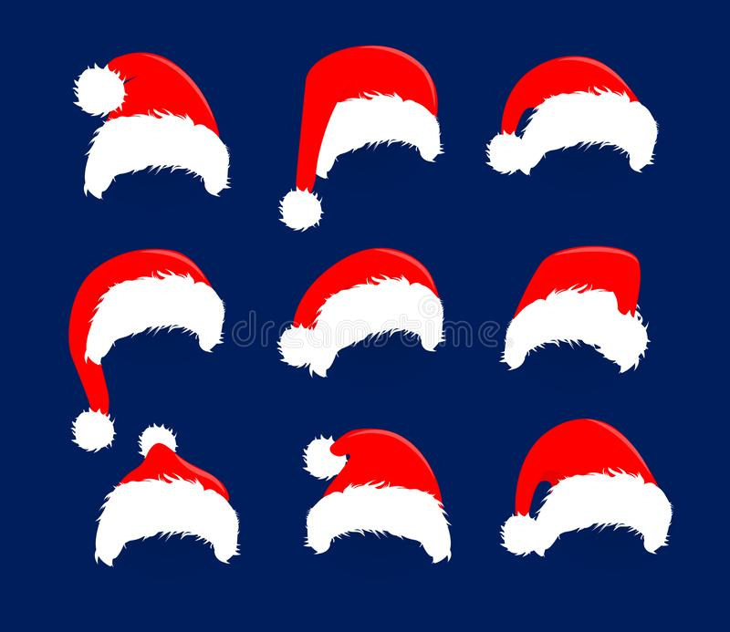 Christmas red hats icon set. Santa Claus costume vector illustration. New Year photography portreit decoration element. royalty free illustration