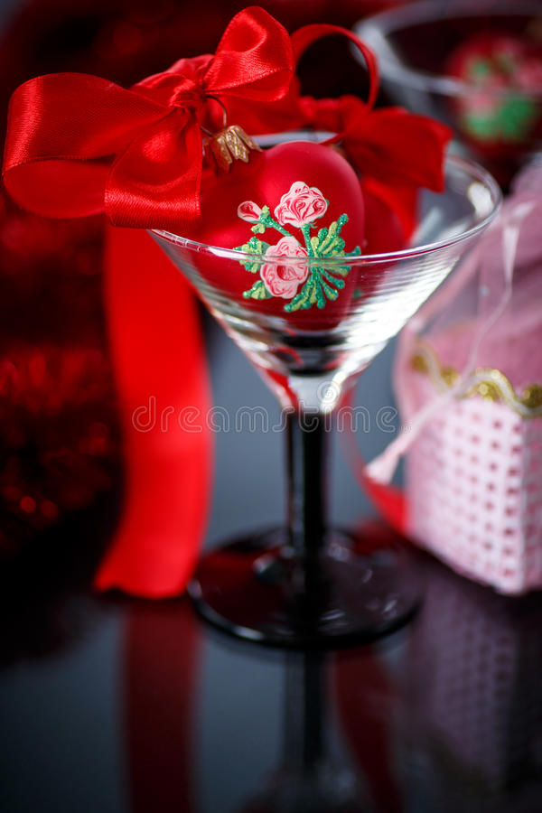 Download Christmas Red Hearts With Red Garland Stock Image - Image: 35429407