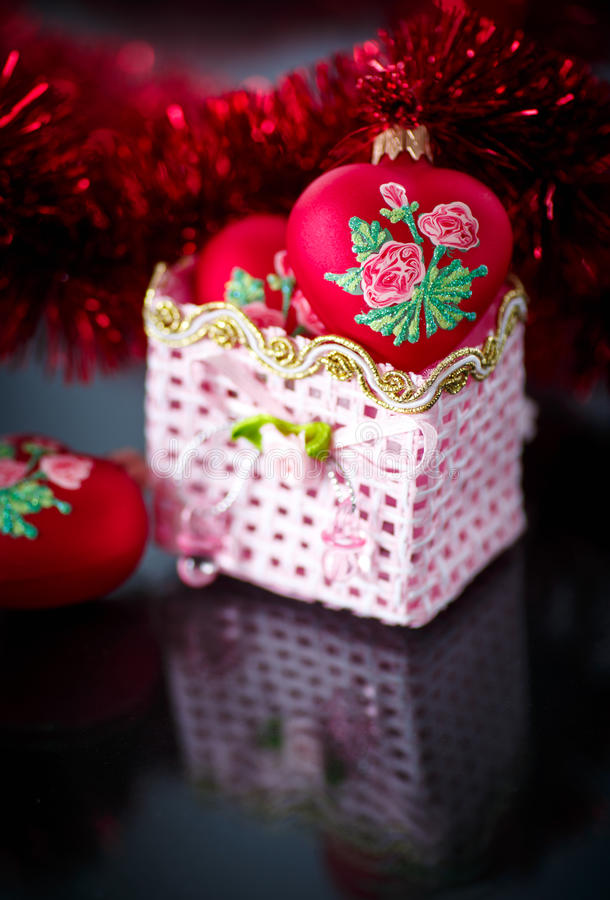 Christmas Red Hearts With Red Garland Royalty Free Stock Image