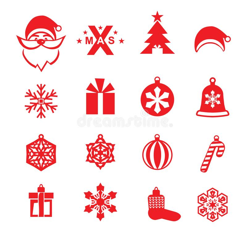 Christmas red icons on white background. Santa, Xmas logo and Christmas decorations vector illustration