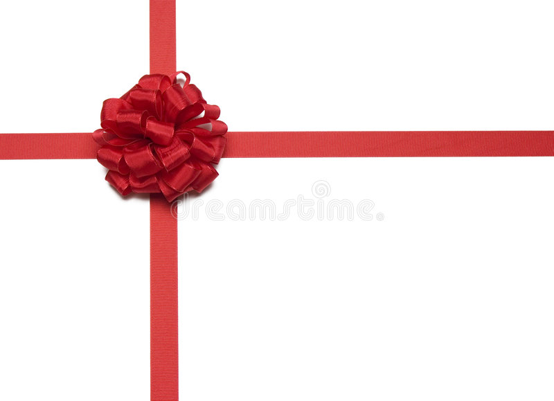Christmas Red Ribbon and Bow stock images