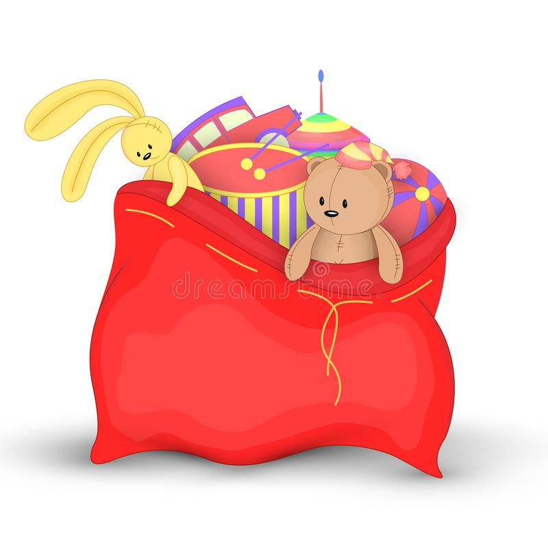 Free Christmas Red Sack With Gifts And Toys. Cute Christmas Bag Of Santa Claus. Isolated On A White Background. Soft Toy Royalty Free Stock Photography - 101882607