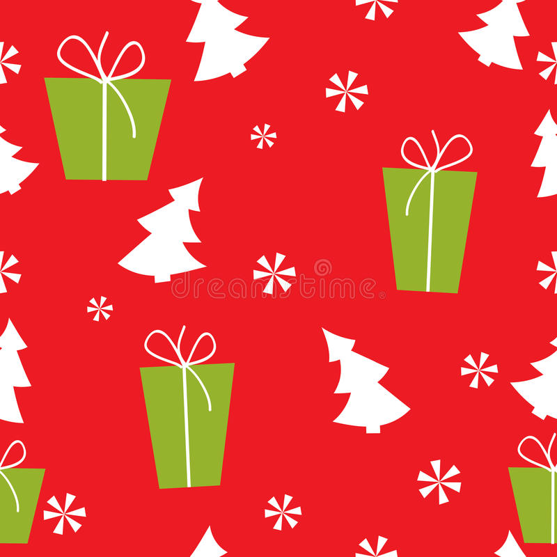 Christmas Red Seamless Pattern With Christmas Tree Stock Image