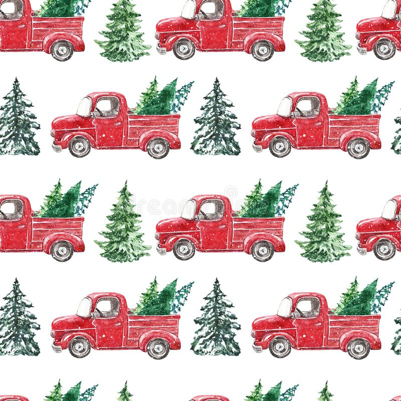 christmas red truck seamless pattern festive holiday wallpaper hand painted retro car snowy fir pine trees white 164954352