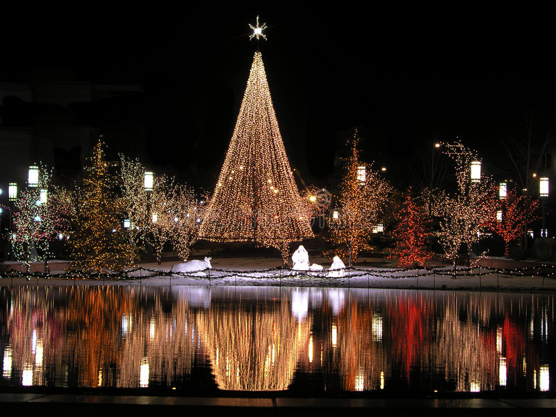 Christmas reflection in the night. A scene from temple square in salt lake city at night near christmas