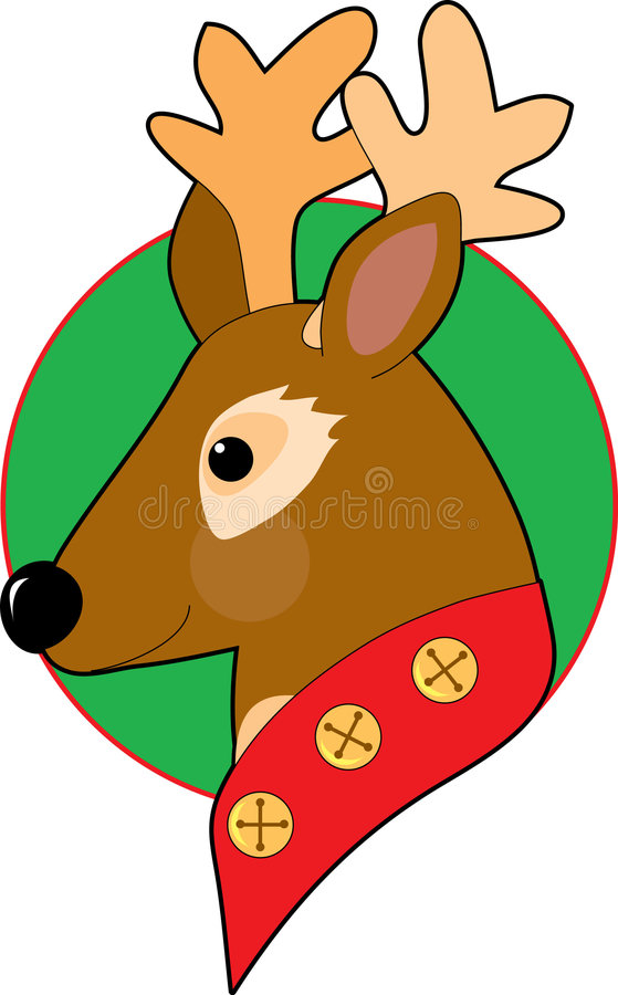 Christmas Reindeer. With bells on his collar royalty free illustration