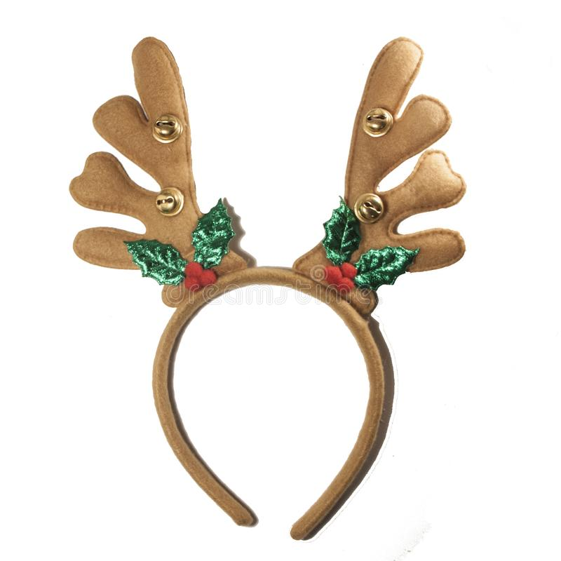 Free Christmas Reindeer Antlers. New Year Deer Headband Isolated On White Royalty Free Stock Image - 166316156