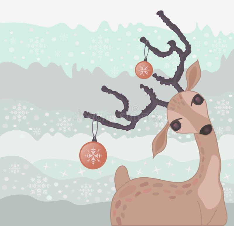 Christmas reindeer card stock illustration