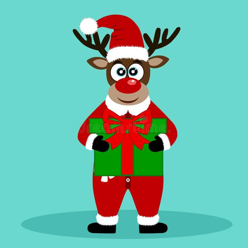 Christmas Reindeer. Christmas card. Funny reindeer with a gift. stock photos