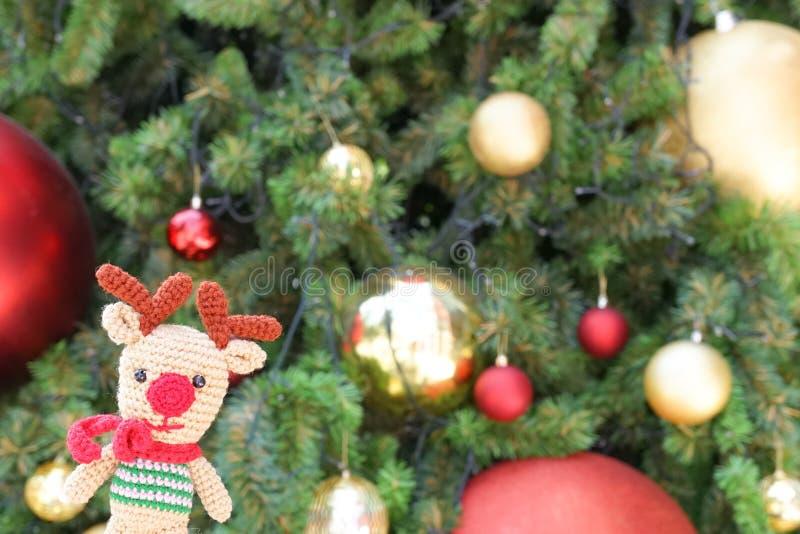 Christmas reindeer crochet doll. stock photos