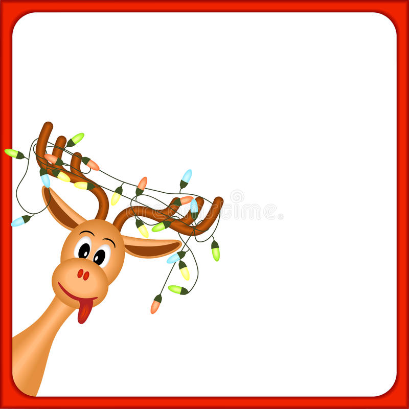Christmas reindeer with electric lights in antlers. On white background, in red frame, illustration stock illustration