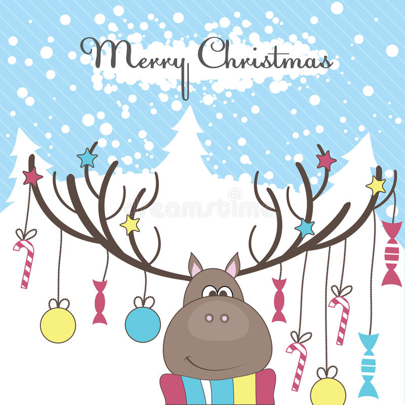 Christmas reindeer with gifts. Vector illustration royalty free stock photos