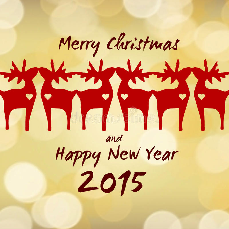 Christmas Reindeer - Greeting Card 2015 royalty free stock images