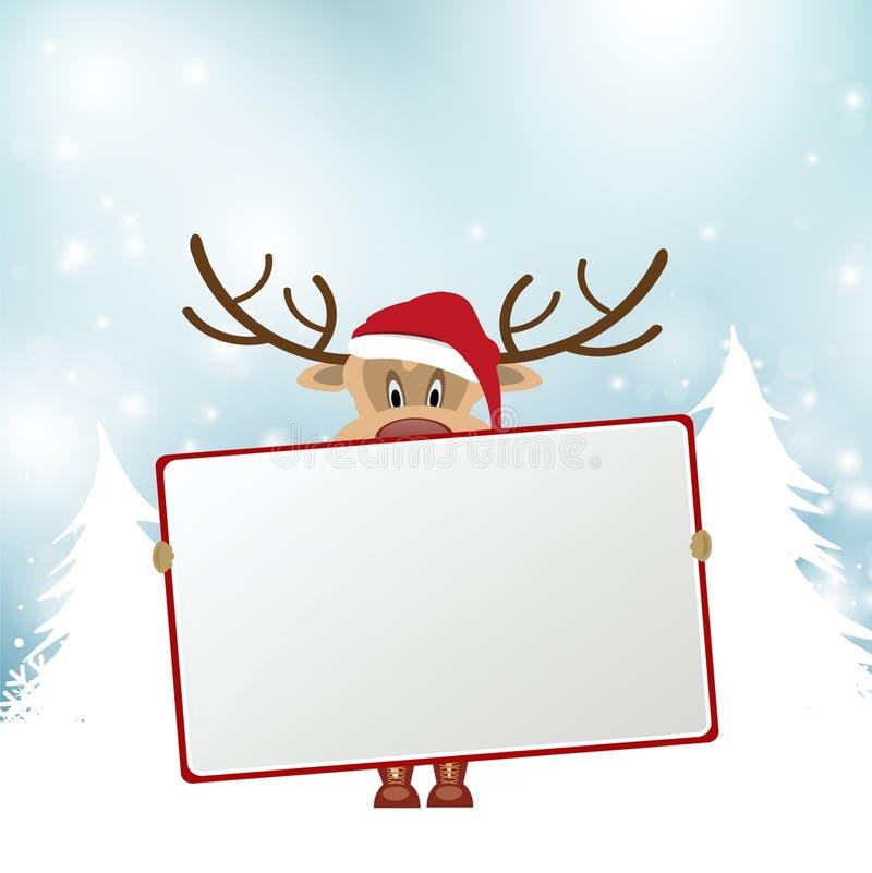 Christmas reindeer holding blank sign vector illustration