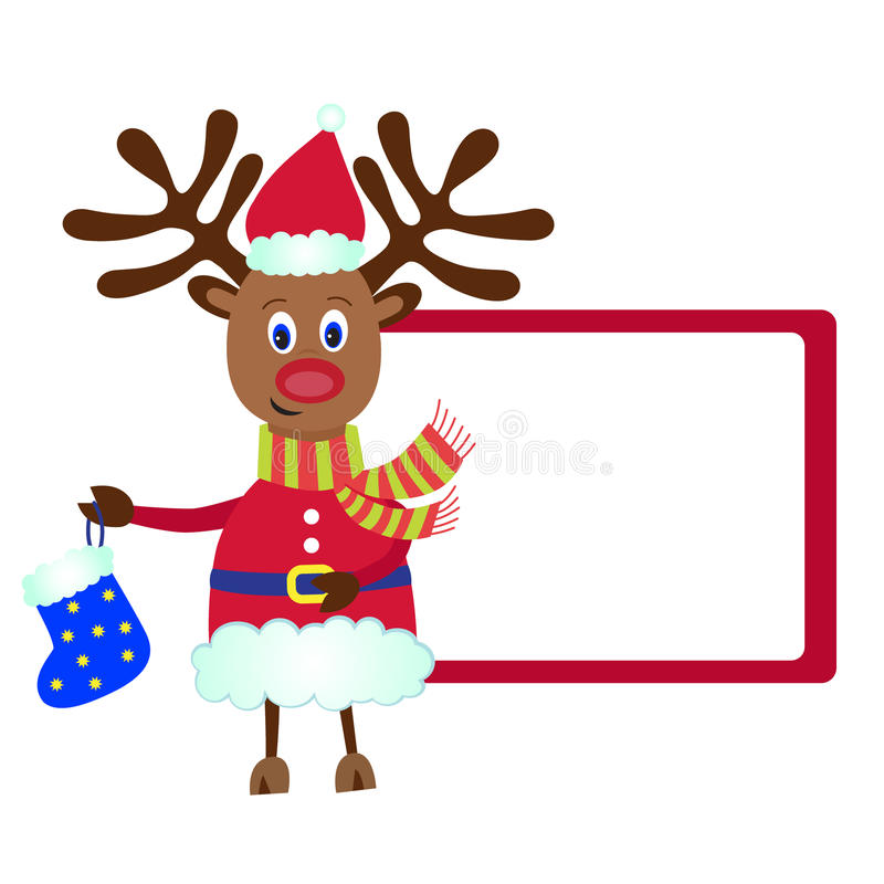 Christmas Reindeer Rudolf with a gift royalty free illustration