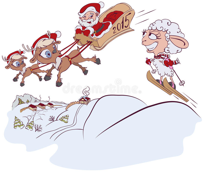 Christmas Reindeer, Santa Claus And A Sheep. Symbol 2015 Stock Vector
