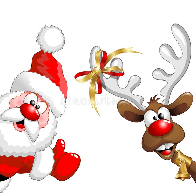 Fun And Happy Santa Claus And Reindeer Cartoon Characters, Looking Like  Saying: Hi There! Christmas Is Here!