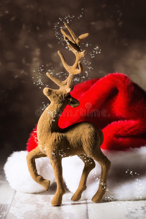 Christmas Reindeer. With santa hat in festive setting stock photos