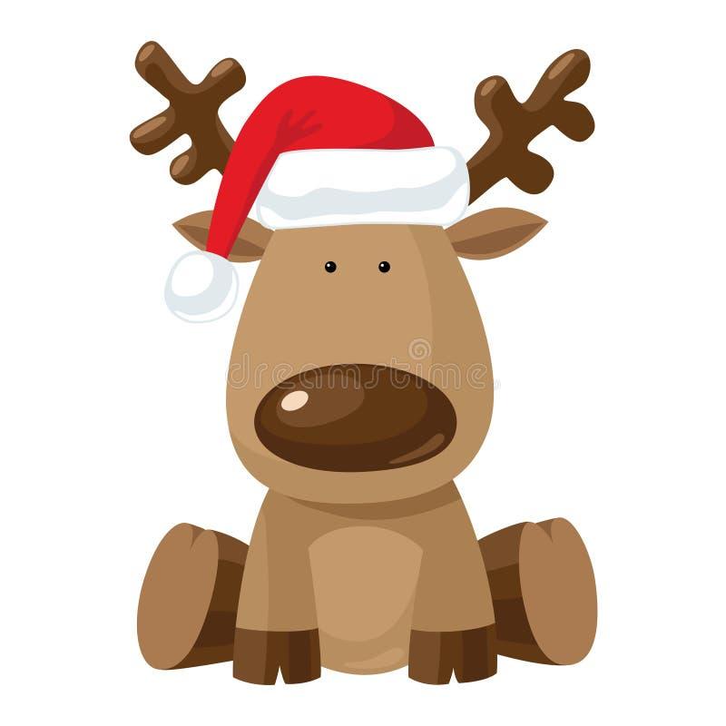 Christmas reindeer in Santa`s red hat vector illustration
