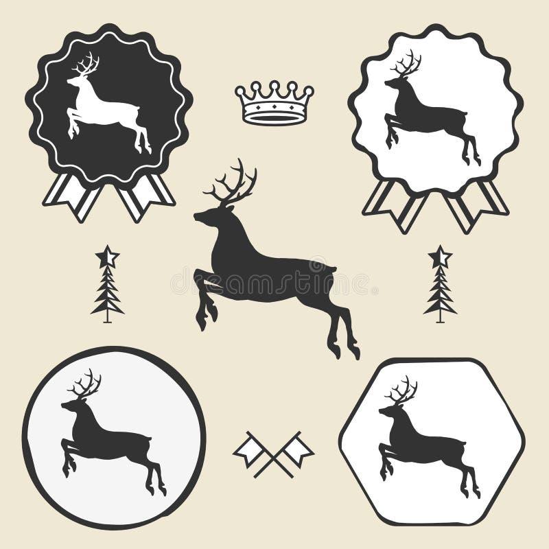 Christmas reindeer silhouett symbol emblem label royalty free illustration