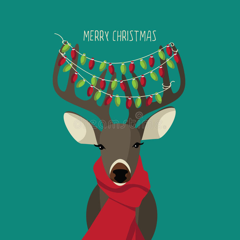 Christmas Reindeer wearing red scarf and festive lights stock illustration
