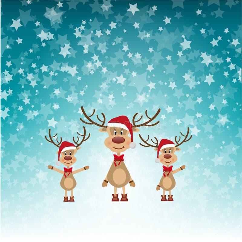 Christmas Reindeers in Santa Hats vector illustration