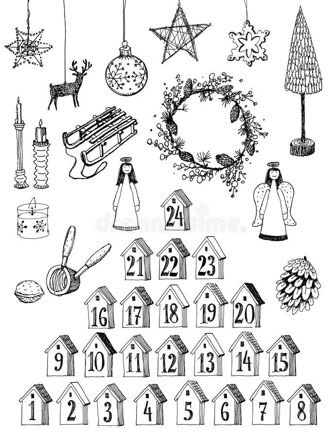 Christmas related set. Vector. Christmas related set. Hand drawn elements. Black and white vector illustration royalty free illustration