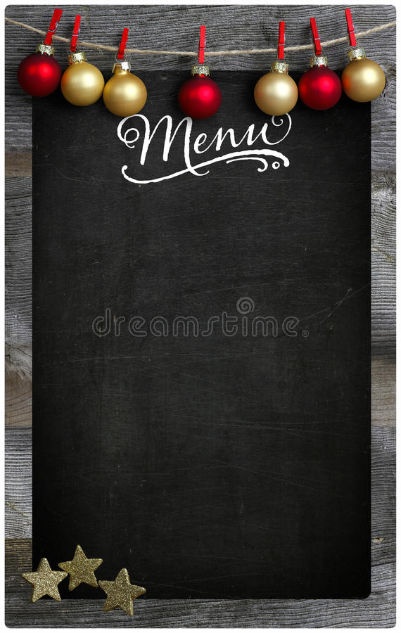 Christmas Restaurant Menu Wooden Blackboard Copy Space stock images