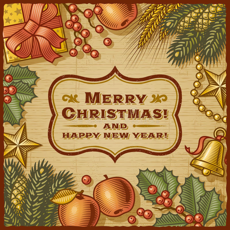 Christmas Retro Card royalty free illustration
