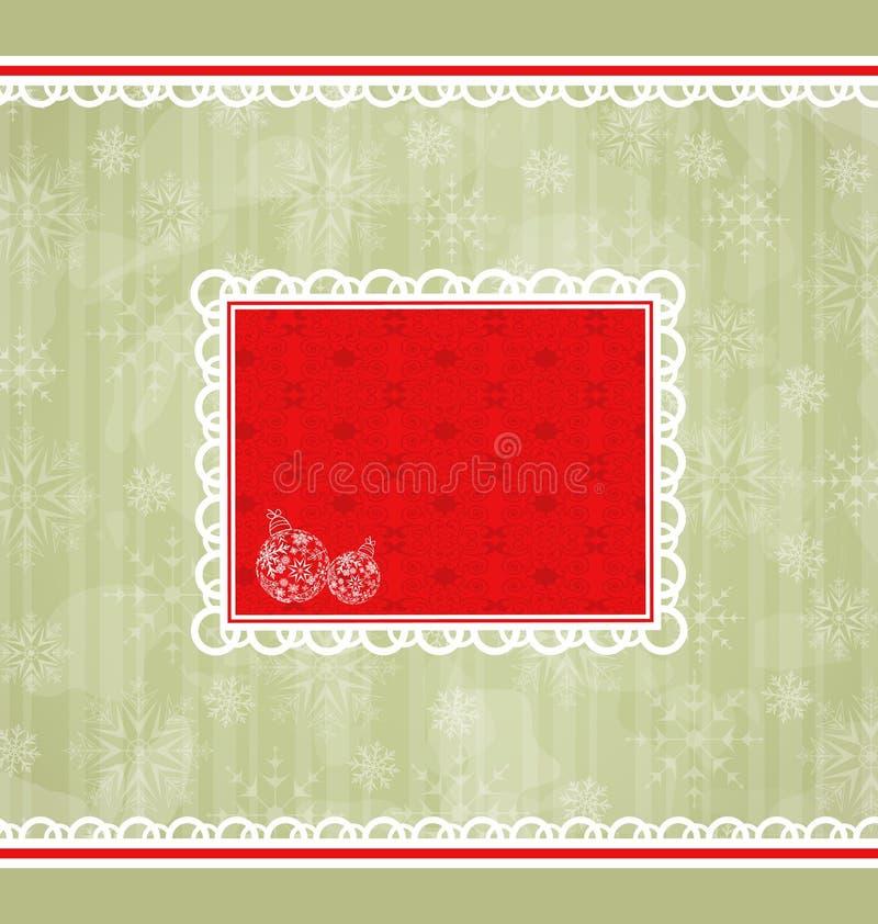 Christmas Retro Card, Ornamental Design Elements Royalty Free Stock Photo