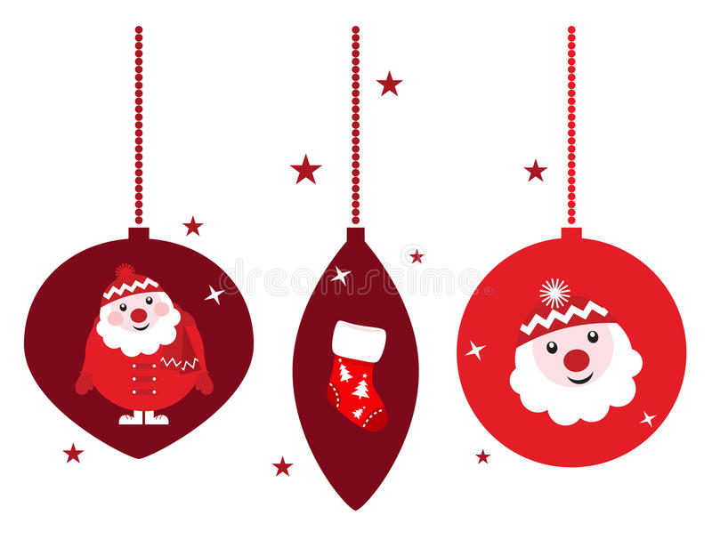 Christmas retro decoration set isolated on white vector illustration