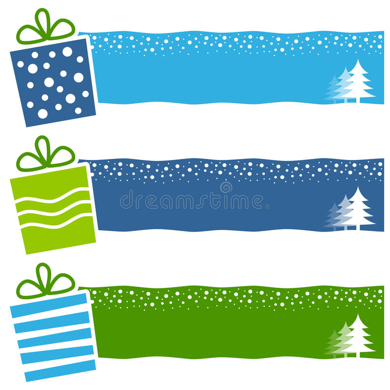 Christmas Retro Gifts Horizontal Banners. A collection of three Christmas horizontal banners with retro gifts on blue and green background. Eps file available royalty free illustration