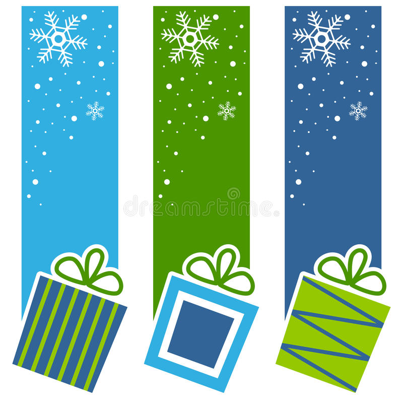 Christmas Retro Gifts Vertical Banners. A collection of three Christmas vertical banners with retro gifts on blue and green background. Eps file available stock illustration