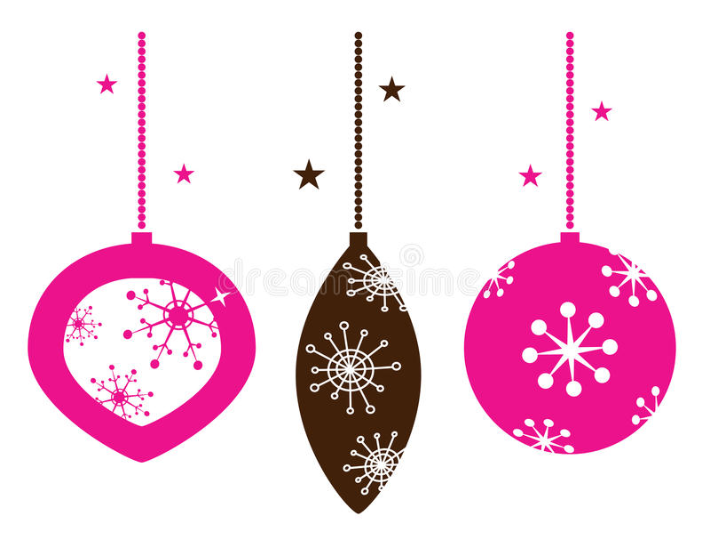 Christmas retro ornamental balls collection royalty free illustration